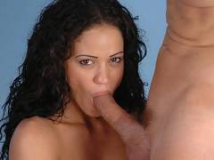 Latina Ju Swallowing a Cock