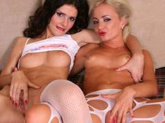 Lesbians roll in the hay dildo then finish off with fingers
