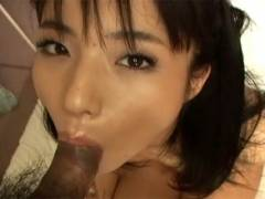 Hot Asian girl goes down on man's cock before getting manhole to humped