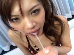 Sexy Japanese slut gets to humped by 2 horny men